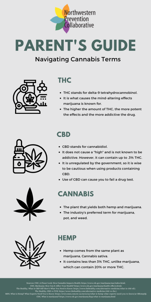 This infographic provides a brief overview of terms commonly used in regards to marijuana, including THC, CBD, Cannabis, and Hemp.